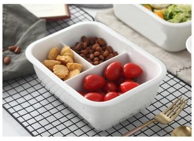 (三格立扣)純白瓷陶瓷便當盒950ml 陶瓷分隔 陶瓷分格 陶瓷分格飯盒 保鮮盒 便當盒 (6.3折)