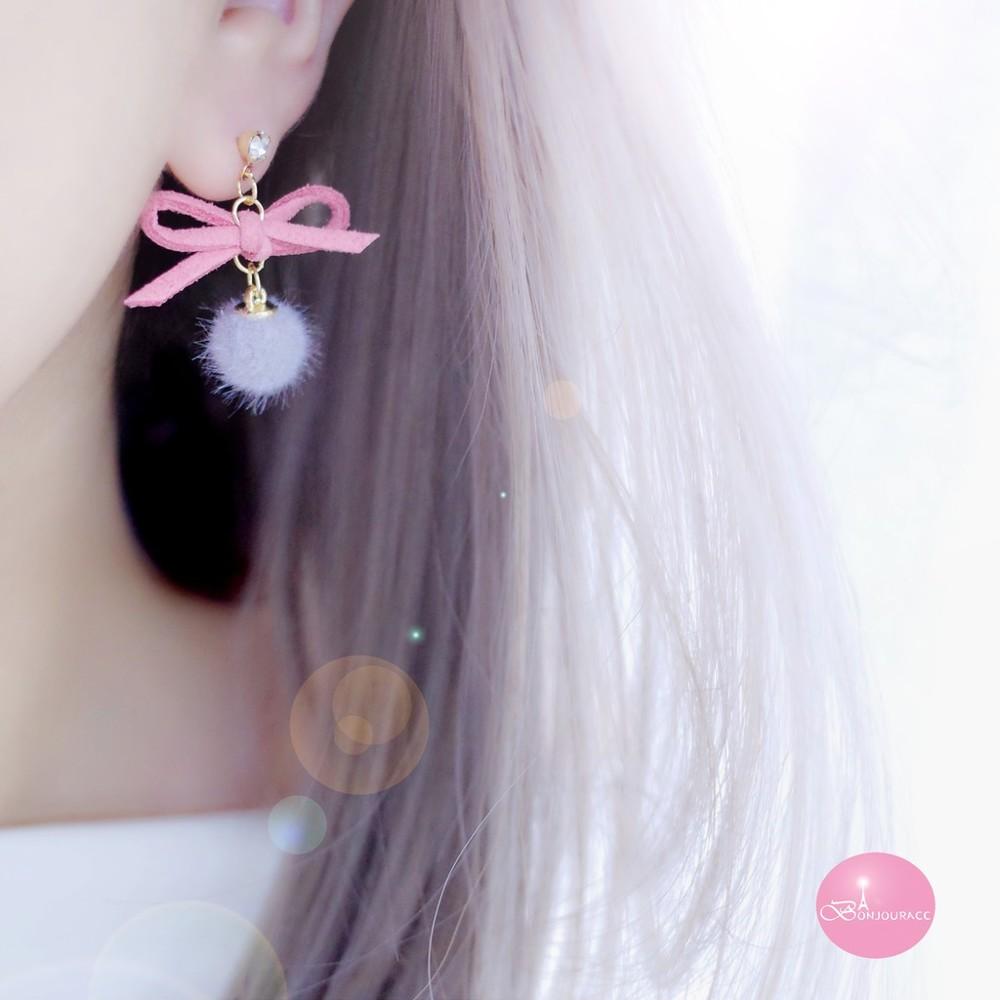 韓國 蝴蝶結小毛球 夾式 針式 耳環bonjouracc