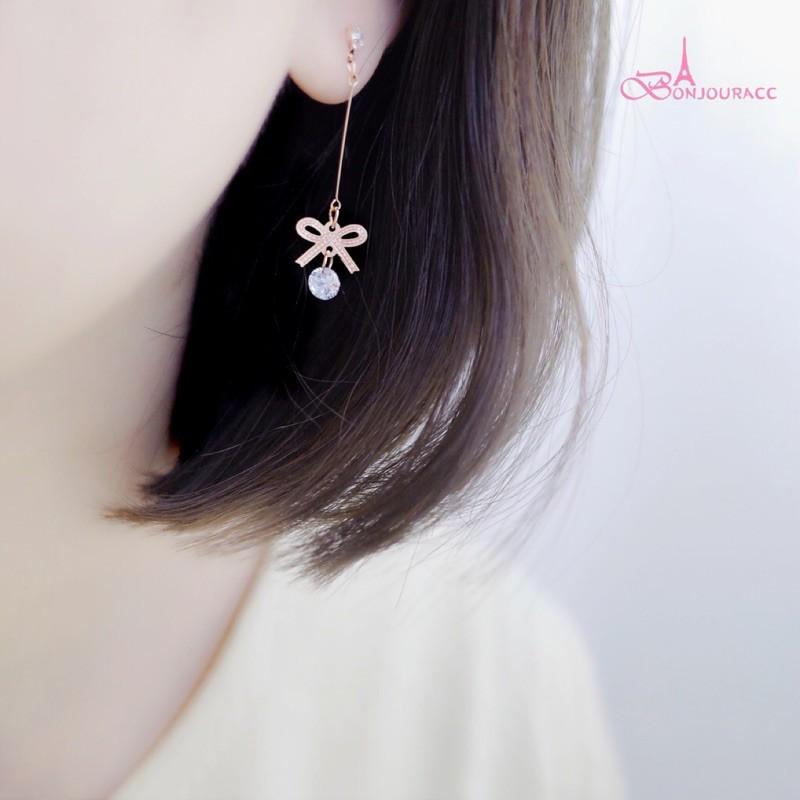 韓國 浪漫蝴蝶結紋 耳環 針式 夾式 bonjouracc