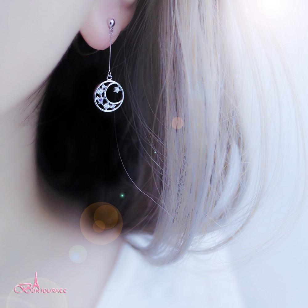 韓國星月小小垂墜不對稱 夾式 針式 耳環 bonjouracc