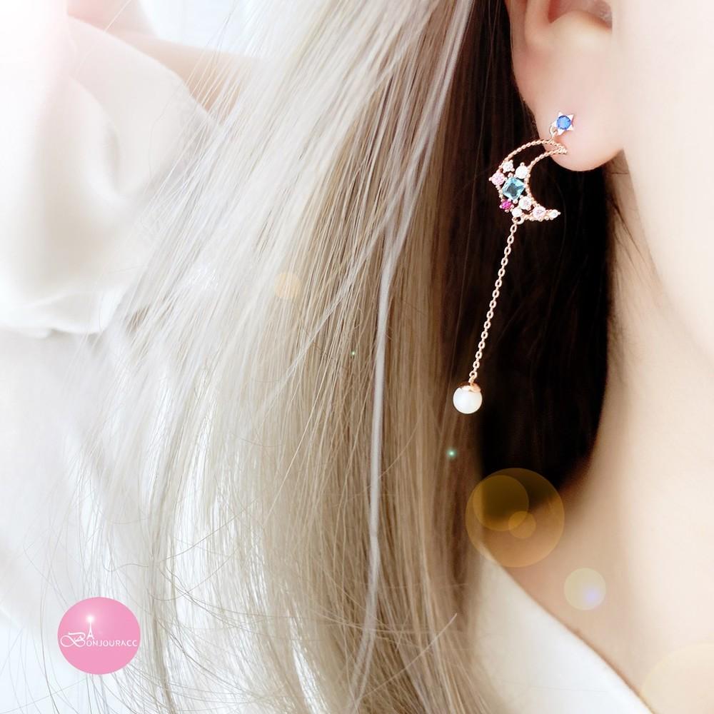 韓國月鑽配色搖曳珍珠耳環 925銀針bonjouracc