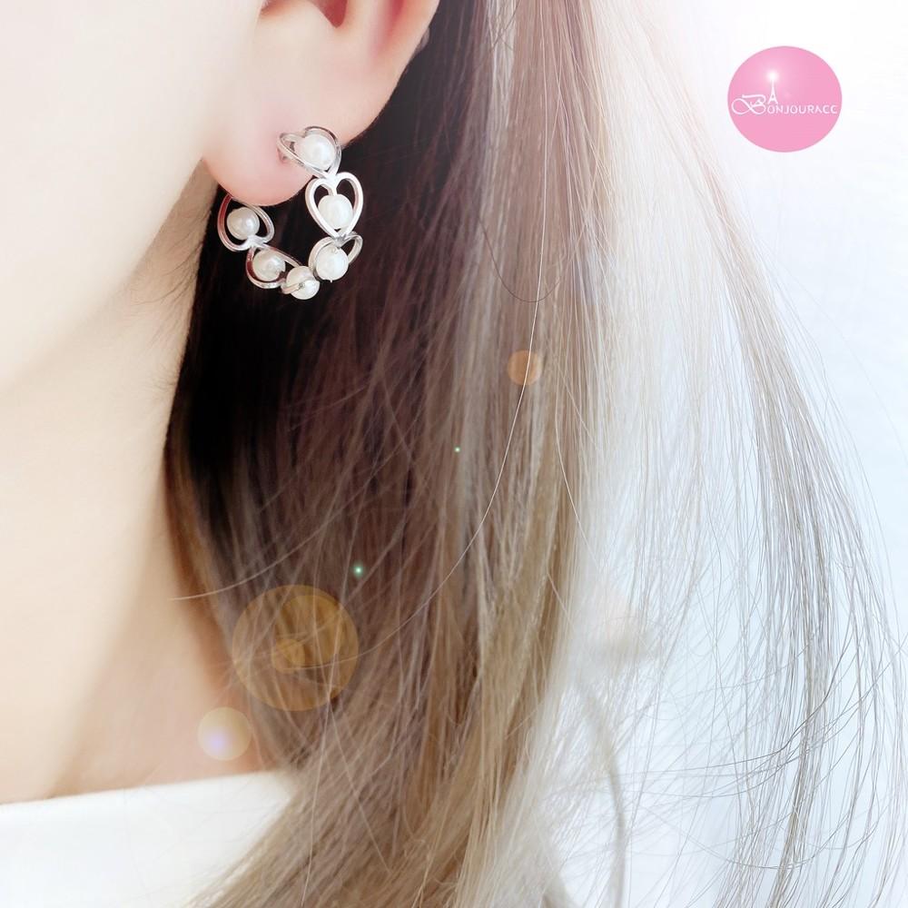 韓國 c字愛心珍珠 耳環bonjouracc
