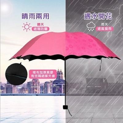 遇水開花抗紫外線黑膠晴雨傘 (1.8折)