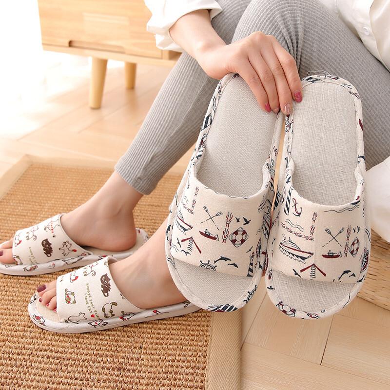 生活好室日系 造型亞麻布編織透氣軟底 室內拖鞋