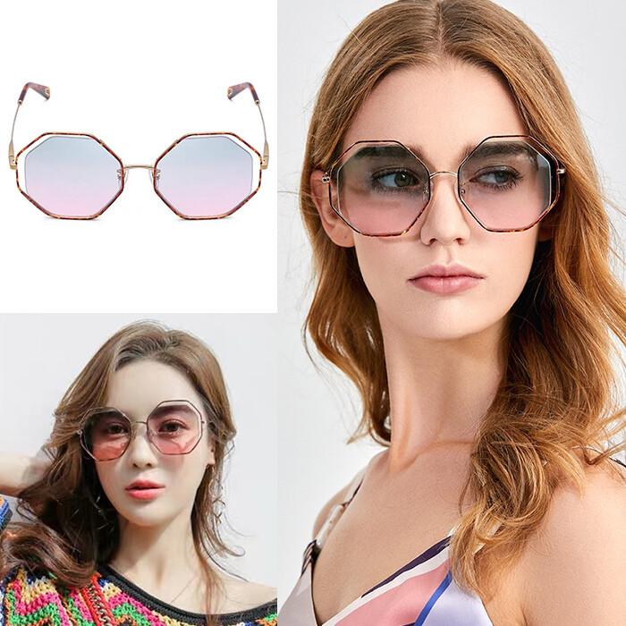 歐美時尚八角型太陽眼鏡 漸層墨鏡 名媛款眼鏡 大框顯小臉 抗紫外線uv400