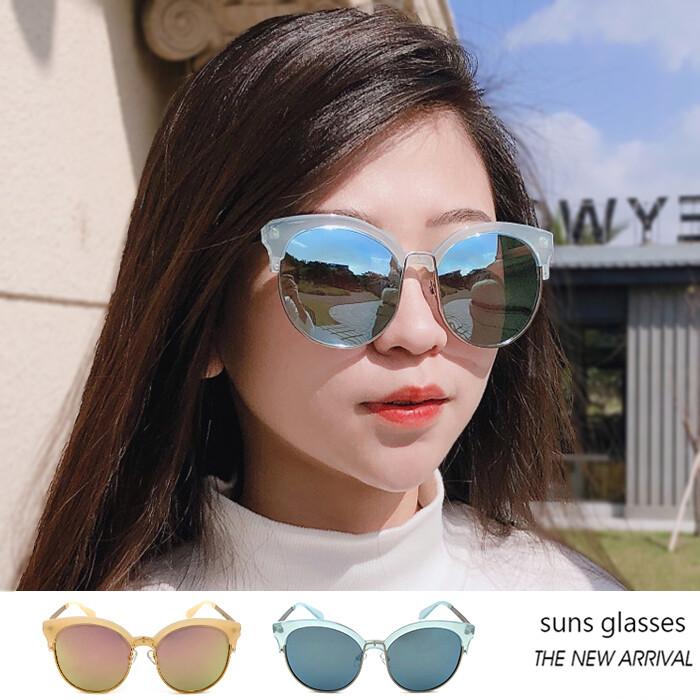 復古貓眼半框墨鏡 時尚流行金屬太陽眼鏡 獨特風格 抗紫外線uv400
