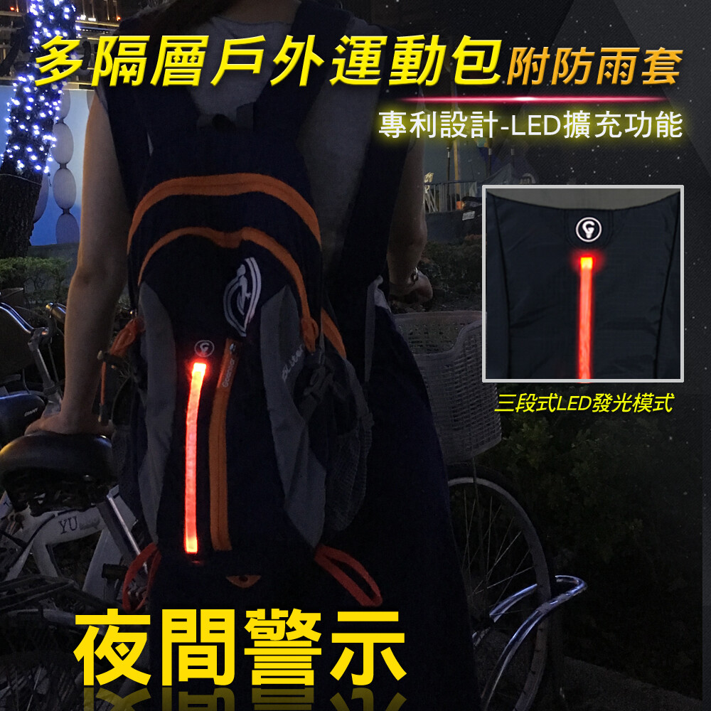 led 警示功能休閒後背包
