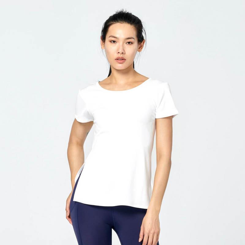 ann rena reyes | 短袖挖背交叉款上衣- 白運動罩衫.短袖.瑜伽
