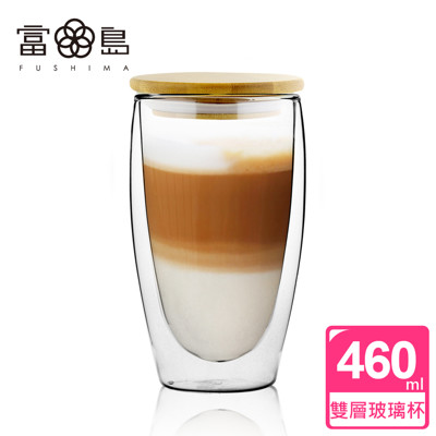 【FUSHIMA 富島】經典系列雙層耐熱玻璃杯460ML(附專屬竹蓋) (3.1折)