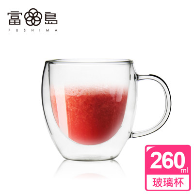【日本FUSHIMA富島】雙層耐熱玻璃杯260ML(把手) (2.4折)