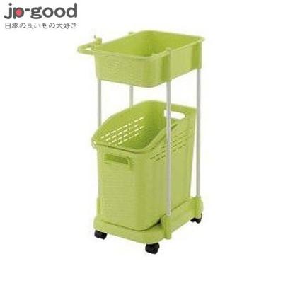 【日本好物JP-GOOD】Richell 雙層洗衣便利推車 - 綠色 ★GCB11446 (6.9折)