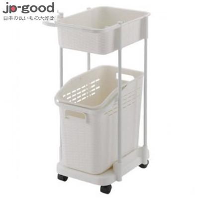【日本好物JP-GOOD】Richell 雙層洗衣便利推車 - 白色 ★GCB11445 (6.9折)