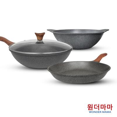 【韓國WONDER MAMA】灰鈦木紋不沾鍋具組(任選炒鍋/平底鍋/湯鍋)+鍋蓋 (4.3折)