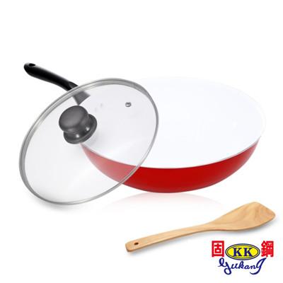 【固鋼】紅色法拉利白陶瓷不沾深炒鍋32cm (4.2折)