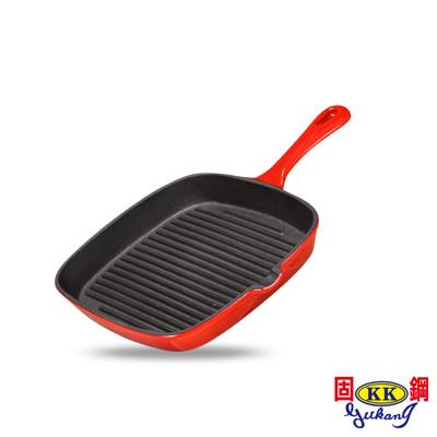 【固鋼】晶亮紅-漸層色琺瑯鑄鐵牛排鍋-23cm (4.7折)
