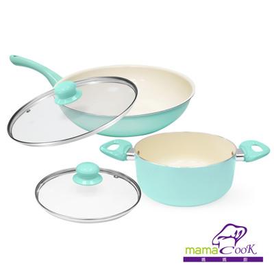 【Mama Cook】湖水綠陶瓷不沾鍋具5件組-炒+湯(30 cm+20cm) (2.7折)