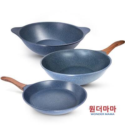 【韓國WONDER MAMA】藍寶石原礦木紋不沾鍋具組任選(炒鍋、湯鍋、平底鍋) (3.7折)