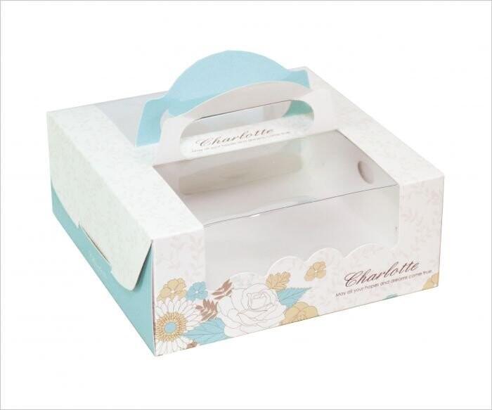 夏綠蒂 6吋手提派盒 附底托 外帶提盒 烘焙包裝 餅乾糖果紙盒 禮品包裝 乳酪盒 布丁蛋糕c030
