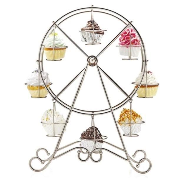 嚴選shop 歐式8杯旋轉摩天輪杯子蛋糕架 婚禮甜品台 纸杯蛋糕展示架  喜慶生日 置物 蛋糕轉盤