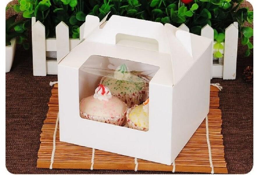 4格 開窗 純白無印手提盒 馬芬盒 杯子蛋糕 蛋糕盒 慕斯奶酪 月餅盒 包裝盒 禮盒 布丁盒c049