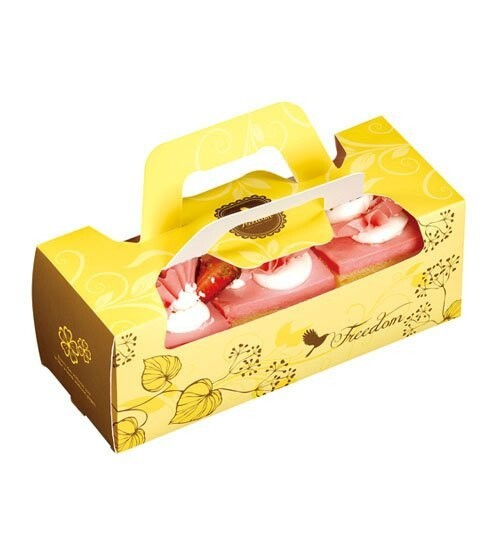 20cm 黃色開窗 小水果條 長條蛋糕盒 奶凍捲 生乳捲 蜂蜜蛋糕 外帶提盒 烘焙包裝 紙盒c062