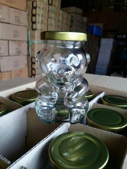 小熊造型玻璃瓶 附金蓋 265cc 奶酪布丁杯 果醬瓶 布蕾杯 婚禮小物 蜂蜜瓶 玻璃杯t025