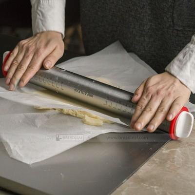 【嚴選SHOP】BreadLeaf 不鏽鋼可調節厚度桿麵棍(四個調節圈) 擀麵棍 排氣棍 揉麵棍 披 (4.3折)