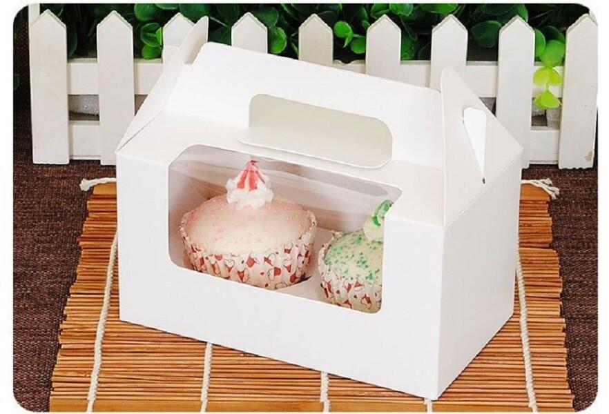 2格 開窗 純白無印手提盒 馬芬盒 杯子蛋糕 蛋糕盒 慕斯奶酪 月餅盒 包裝盒 禮盒 布丁盒c048
