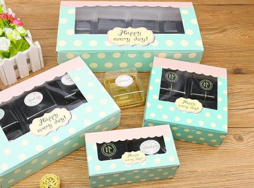 開窗6/8粒裝 63-80g月餅盒 雪媚娘盒 蛋撻盒 蛋糕盒牛軋糖包裝盒 烘焙紙盒 蛋黃酥盒c101