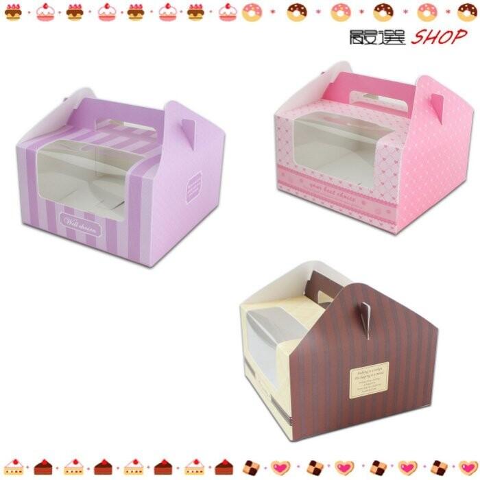 格 透明櫥窗 外袋盒 馬芬 杯子蛋糕 外送 慕斯 奶酪 硬紙盒 手提盒 禮盒 包裝 婚禮c075