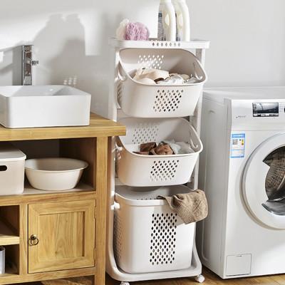 北歐風三層洗衣收納籃推車 (4.2折)
