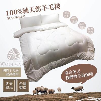 【Aaron艾倫生活家】台灣製 100%純淨羊毛被 ( 單人4.5x6.5尺 ) (4.9折)