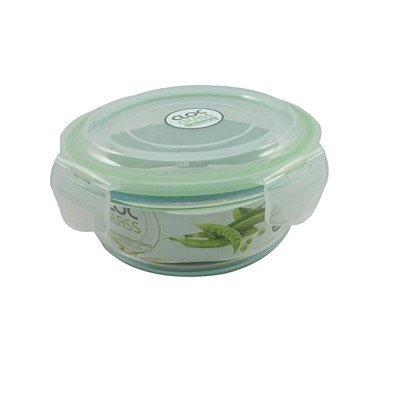 韓國NEOFLAM玻璃保鮮盒-圓形-620ml 綠膠條 (5.9折)