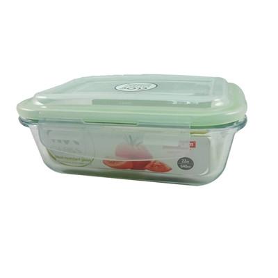 韓國NEOFLAM玻璃保鮮盒-長方形-640ml 綠膠條 (5.9折)