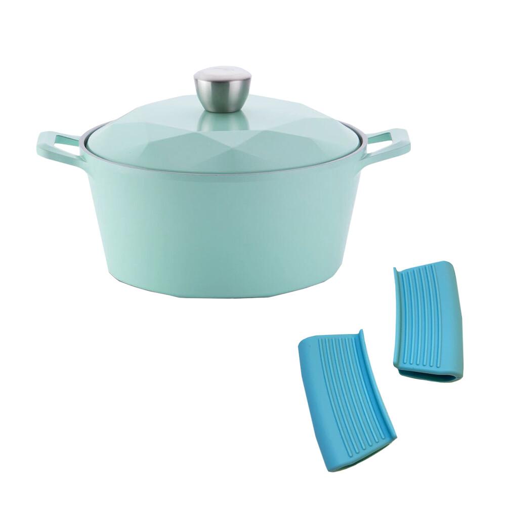 neoflam carat系列陶瓷不沾湯鍋24cm-tiffany藍(附合金蓋+防燙夾)