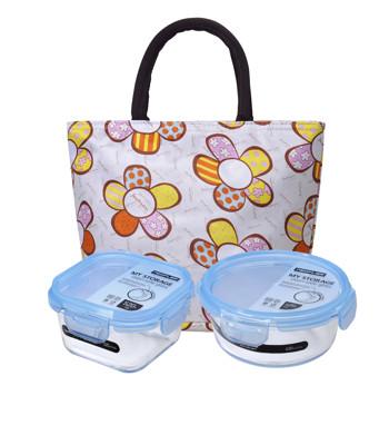 NEOFLAM專利無膠條玻璃保鮮盒三件組(提袋款式隨機出貨) (6.2折)