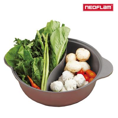 NEOFLAM 陶瓷不沾鑄造28公分鴛鴦鍋含玻璃蓋-丹麥粉(IH、電磁爐適用) (6折)