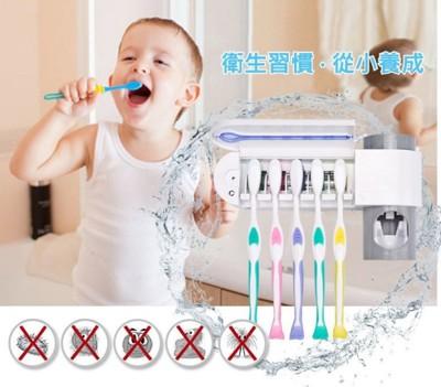 多功能紫外線牙刷殺菌機防蟑收納架 (贈自動擠牙膏器) (2.7折)