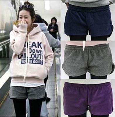 韓版純棉百搭抓絨加厚女修身保暖短熱褲 (2折)