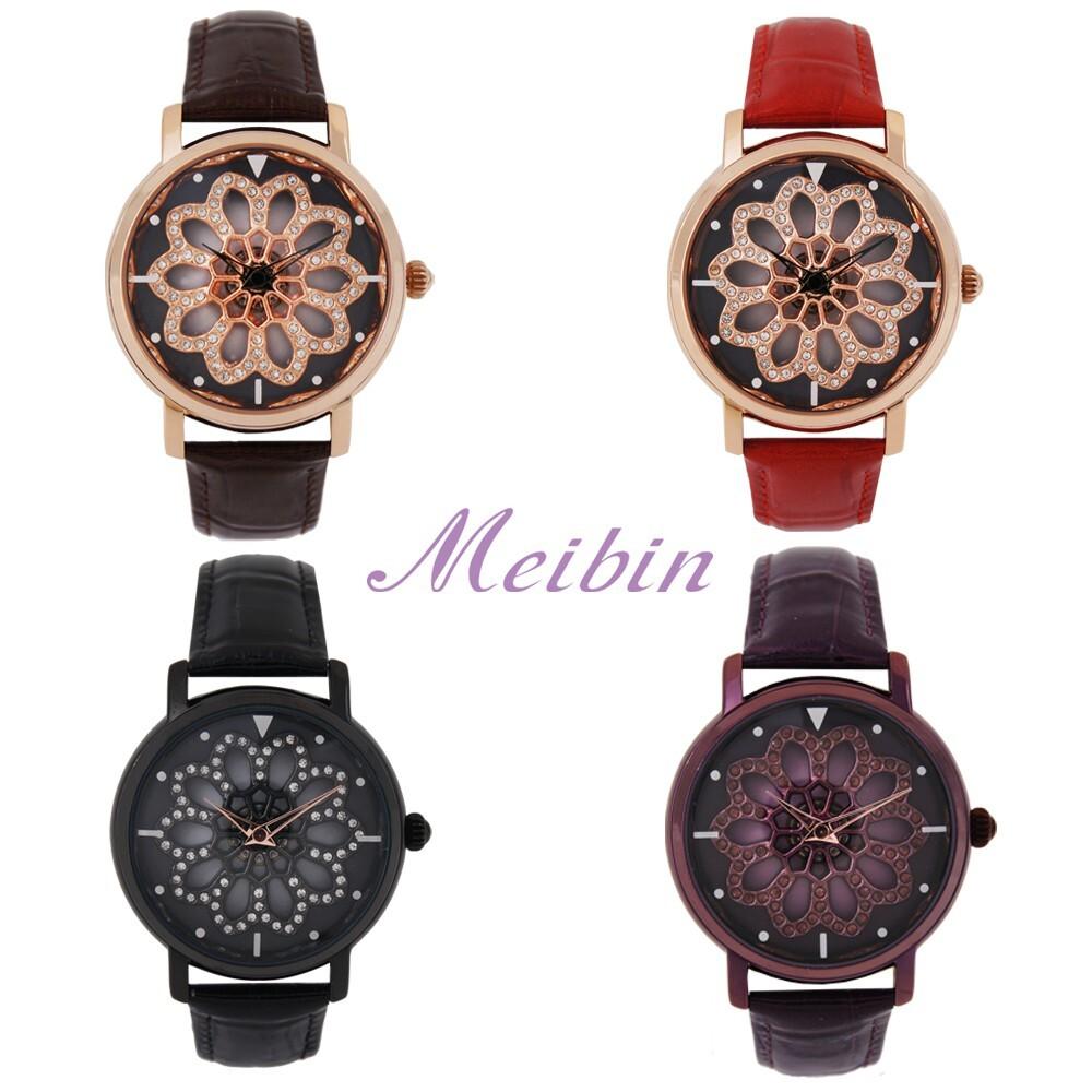 meibin美賓 時來運轉繁花閃耀皮帶手錶(m006)