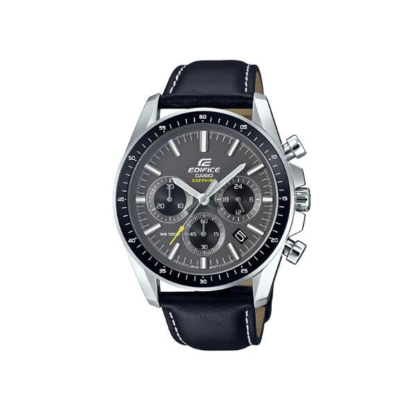 casio卡西歐 edifice藍寶石玻璃三眼計時皮帶手錶 (efb-570l-1a)