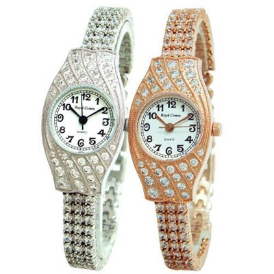 Royal Crown 酒桶滿晶鑽手鍊錶/手錶(2502B) (8折)