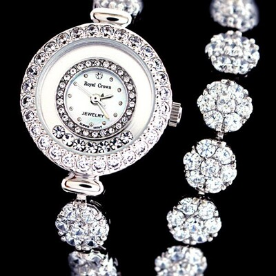 Royal Crown 鑲鑽雙圈滑鑽加長手鍊錶/手錶(5308BB) (9折)