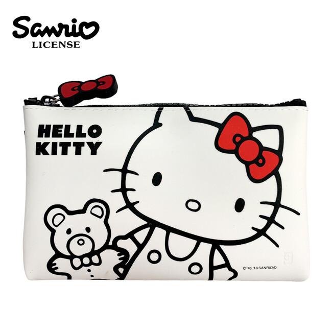 日本正版凱蒂貓 矽膠 筆袋 鉛筆盒 收納包 防潑水 hello kitty 三麗鷗 775073