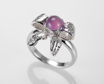 『翩翩起舞』天然玉髓紫紅玉純銀女戒指 (5折)