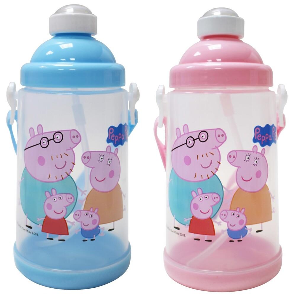 正版佩佩豬吸管背帶水壺650ml-台灣製