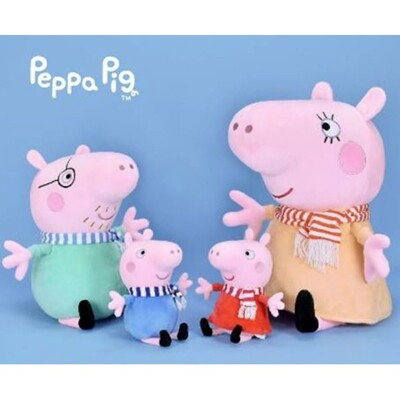正版授權佩佩豬/喬治/爸爸/媽媽圍巾款6吋可吊娃娃 (5.4折)
