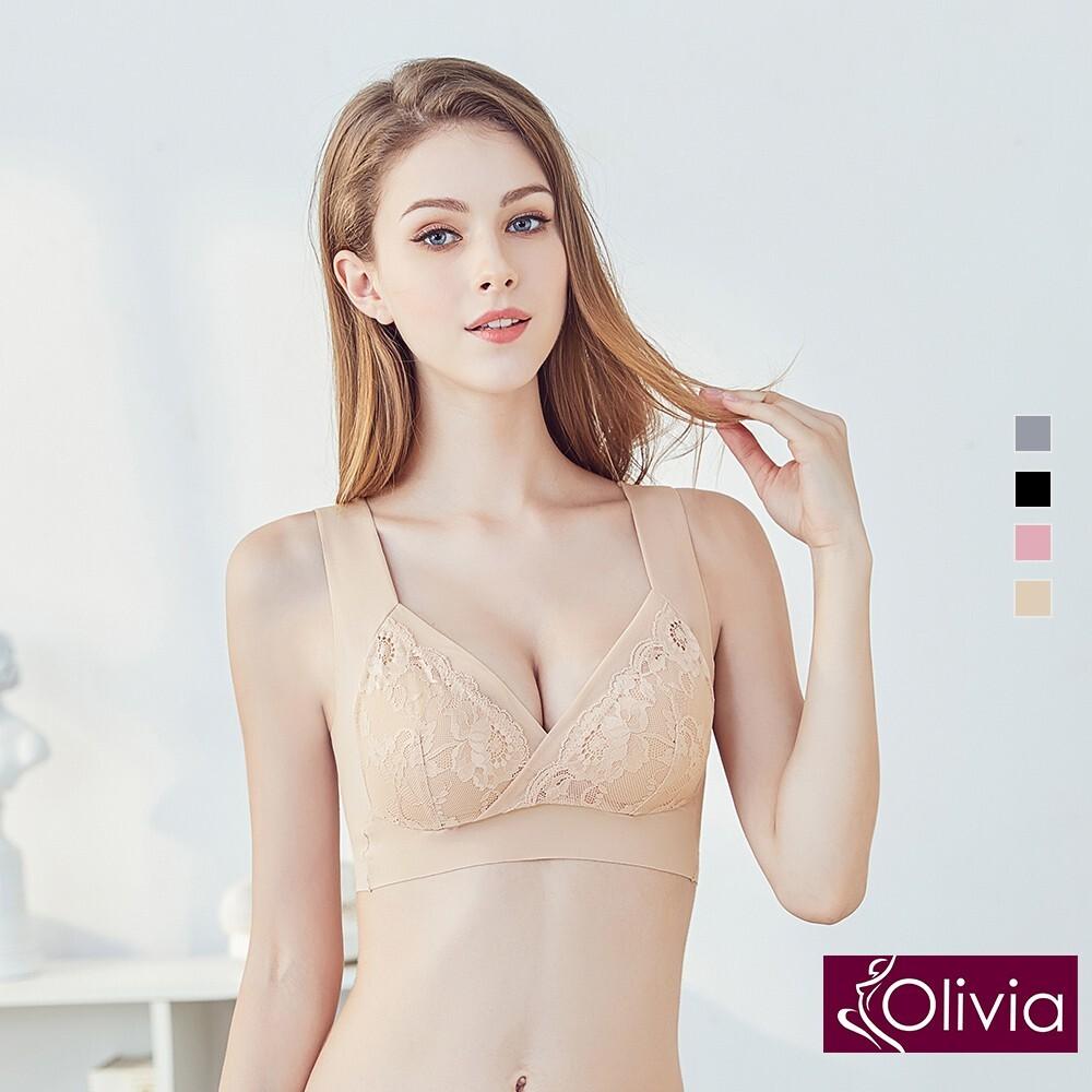 olivia無鋼圈浪漫典雅蕾絲美背內衣-膚色