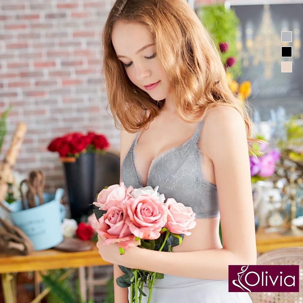 olivia無鋼圈羽毛蕾絲集中聚攏內衣褲套組-灰色