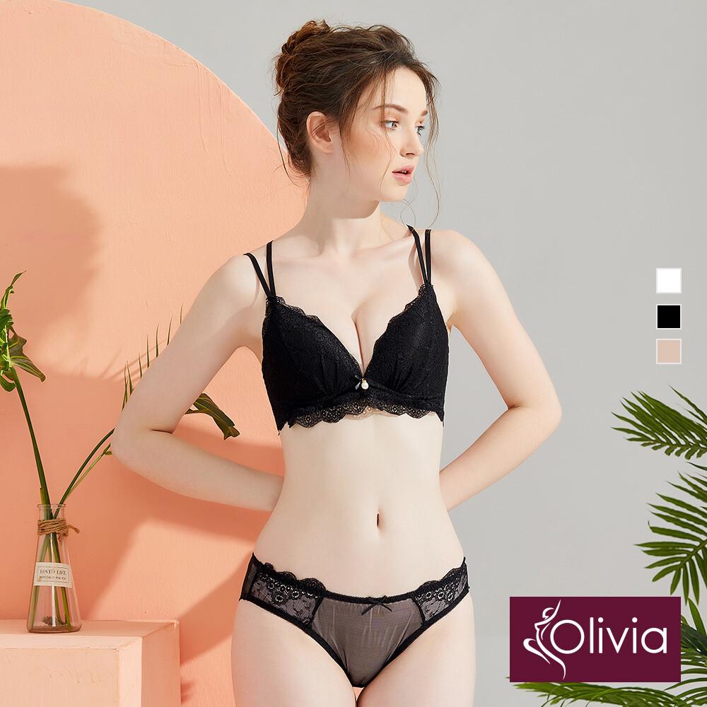 olivia無鋼圈蕾絲美背內衣+褲套組